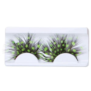Colourful Feather Exaggeration False Eyelashes - Black and Green