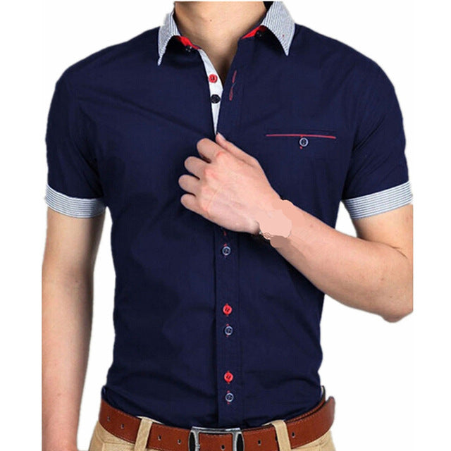 Navy Blue with light grey collar short sleeved shirt.