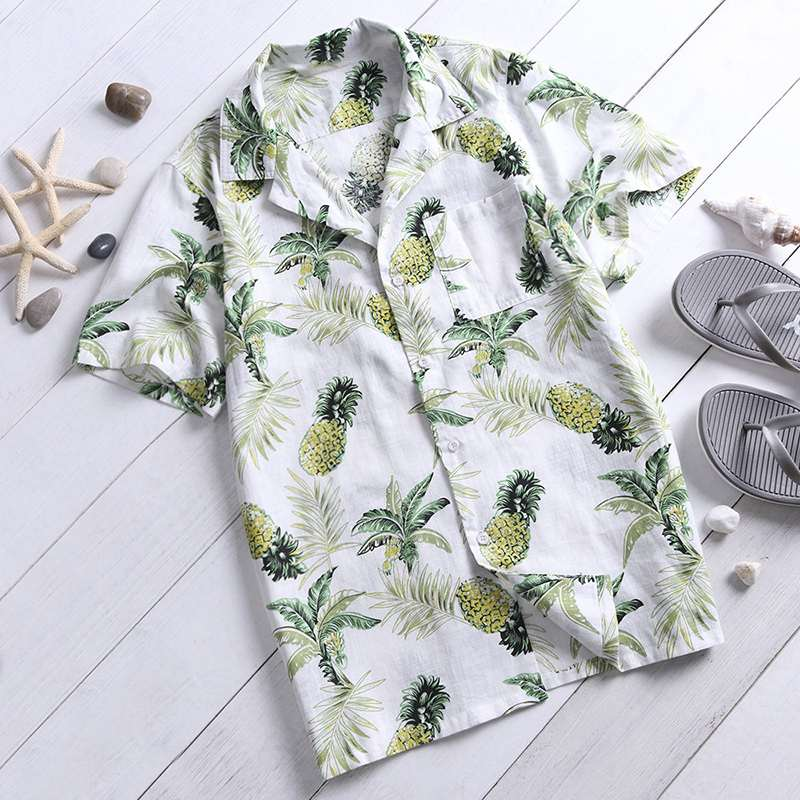 Yellow, Green and White fruit Hawaiian shirt.