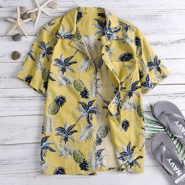 Yellow and black Hawaiian short sleeved shirt