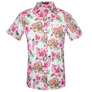 Pink and White Flowered short sleeved shirt.