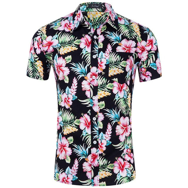 White and black flowered short sleeved shirt.