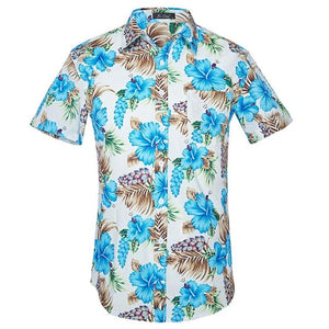 Light Blue and White flowered short sleeved shirt