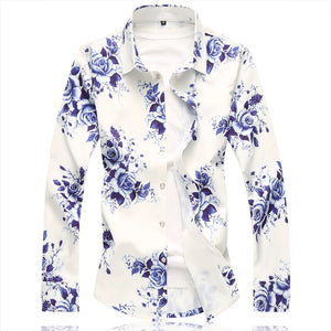Blue and white flowery long sleeved shirt