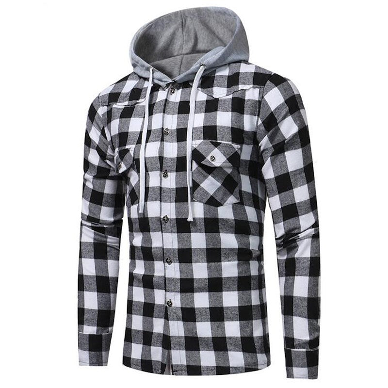 Black and White chequered casual shirt with grey hood.