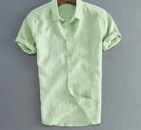 Comfortable casual lime green short sleeved shirt.
