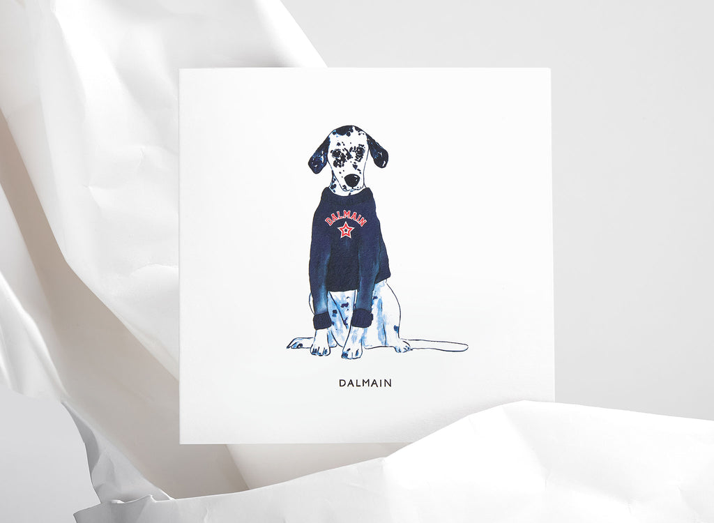 Jo Laing - Dalmain Dogs in Vogue Greeting Card - luxury stationery made in England