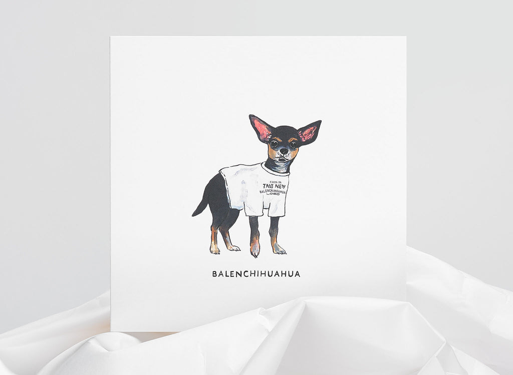 Jo Laing - Balenciaga Dogs in Vogue Greeting Card - luxury stationery made in England