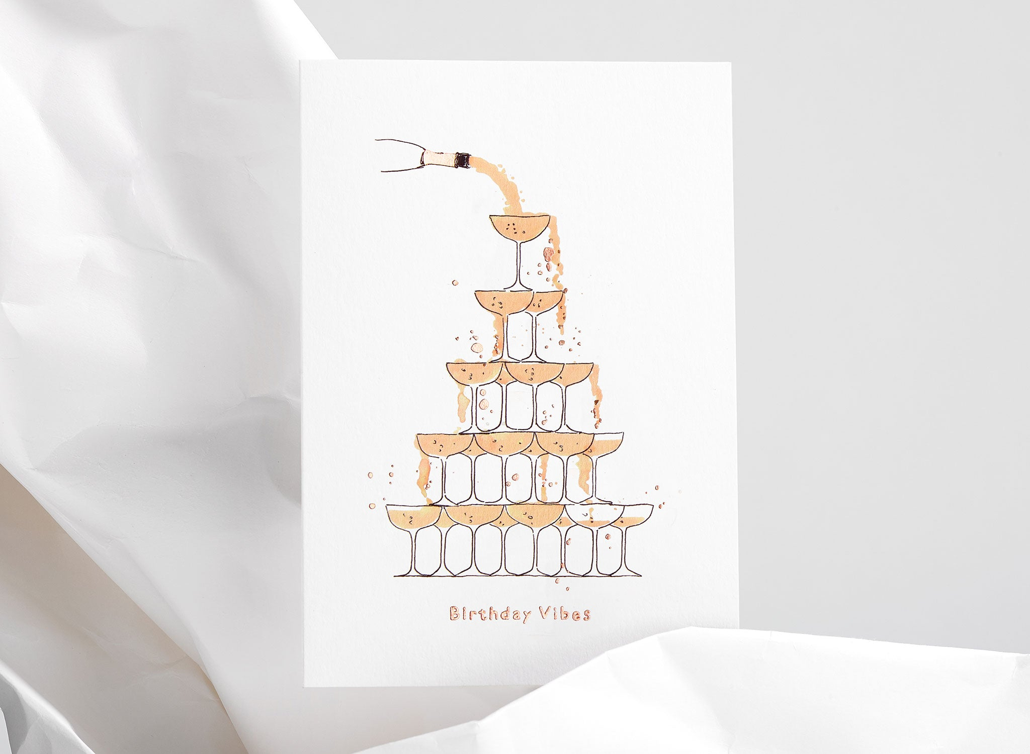 Jo Laing - Happy Birthday Champagne Greeting Card - luxury stationery made in England