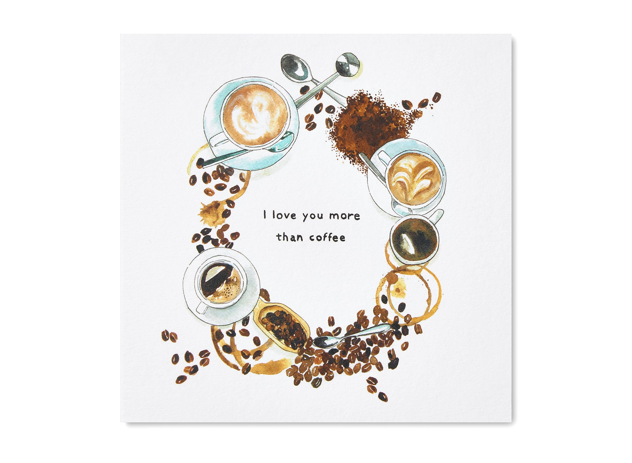 Jo Laing - I Love You More Than Coffee Greeting Card - luxury stationery made in England