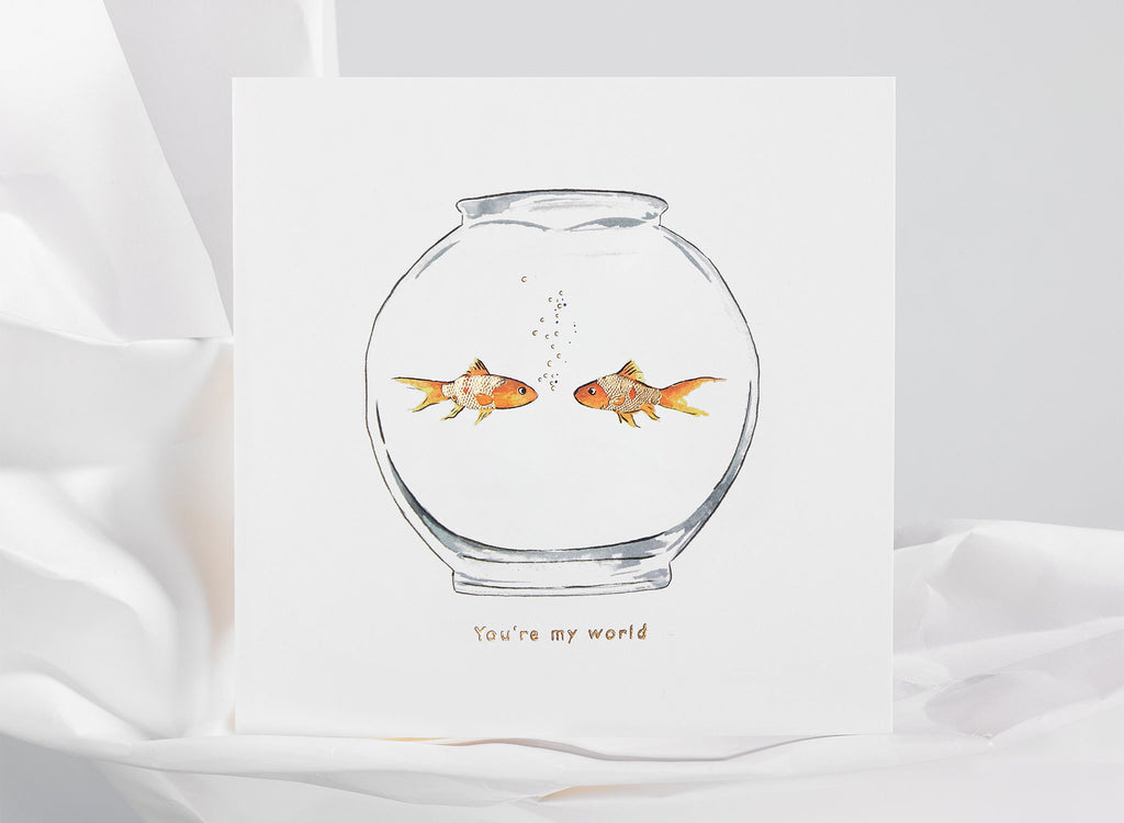 Jo Laing - You're My World Greeting Card - luxury stationery made in England