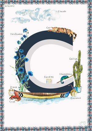 'C is For' Alphabet Nursery Art Print