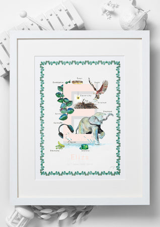 'E is For' Alphabet Nursery Art Print