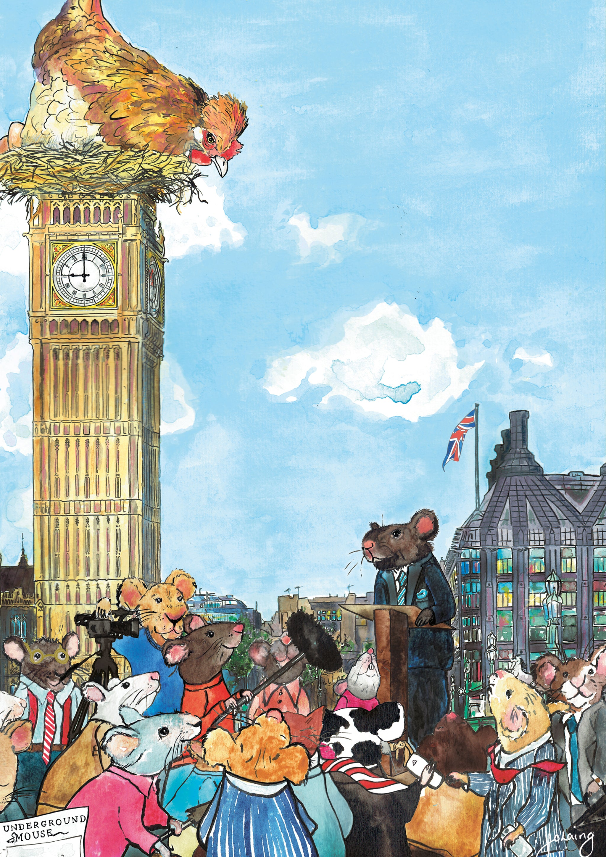 Big Hen and the Mouse of Parliament Nursery Art Print