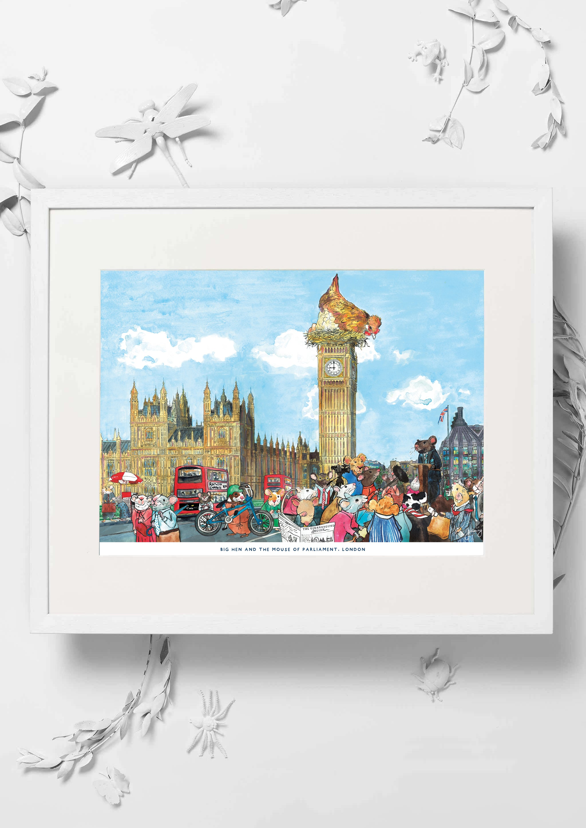 Big Hen and the Mouse of Parliament features original watercolour artwork of the iconic Palace of Westminster and Big Ben clocktower.