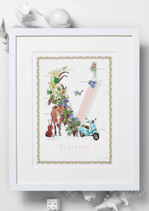 'V is For' Nursery Art Print - French Collection
