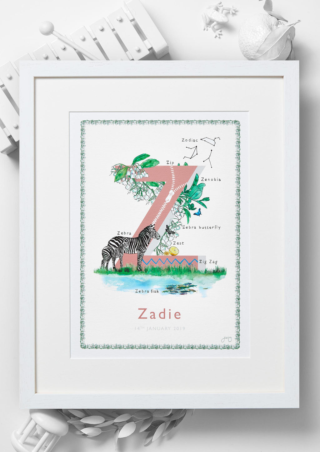 'Z is For' Alphabet Nursery Art Print