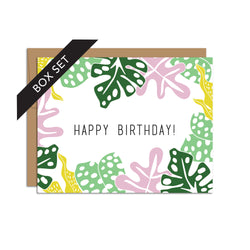 BOX SET OF 8 - Jungle Leaves with Happy Birthday