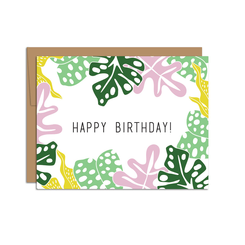 Jungle Leaves with Happy Birthday
