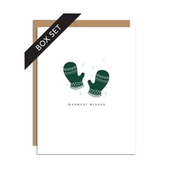 "BOX SET OF 8 Cards - ""Warmest Wishes"" Green Mittens"