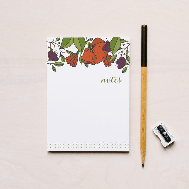 Red Florals Small Notepad (R) 1
