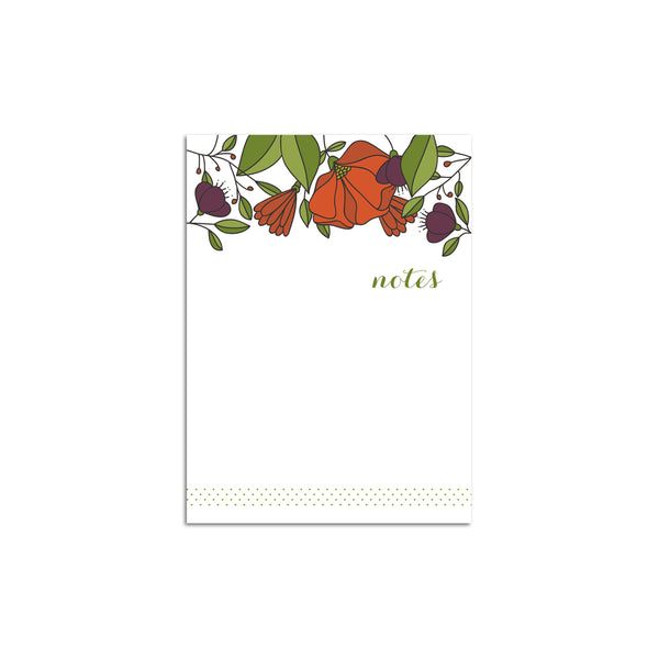 Red Florals Small Notepad
