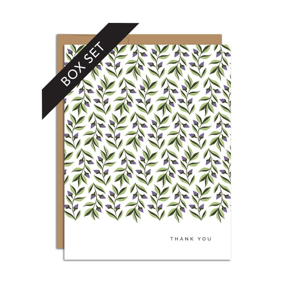 "BOX SET OF 8 Cards - ""Thank You"" Ivy Pattern"