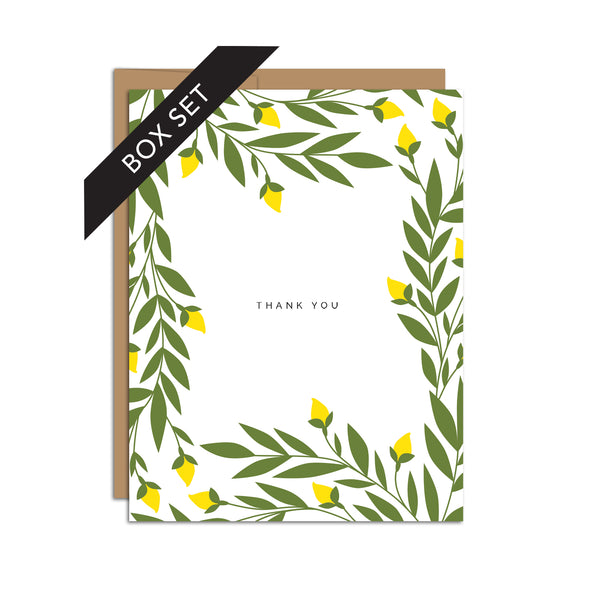 BOX SET OF 8 - Thank You with Lemon Blooms