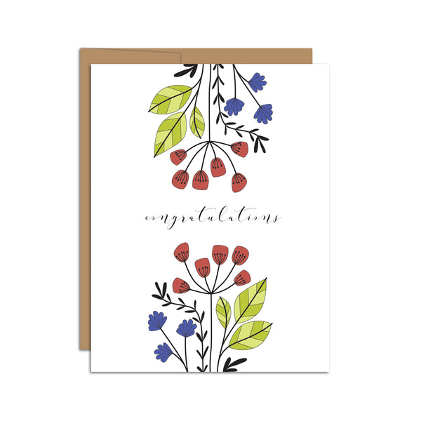 """Congratulations"" Colorful Florals Card"