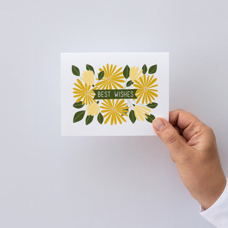 Best Wishes with Sunflowers + Daisies