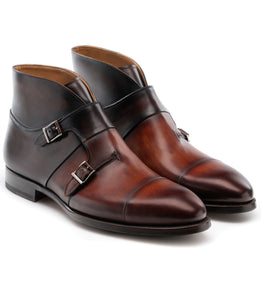 Height Increasing Brown Leather Ortigas Monk Strap Boots