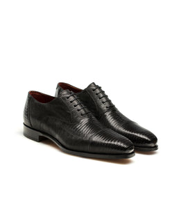 Goodyear Welted Lamego Black Leather Croc Print Oxford With Violin Leather Sole