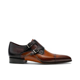 Height Increasing Tan & Brown Leather Cooma Monk Straps Shoes