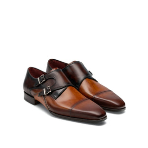 Tan & Brown Leather Cooma Monk Straps Shoes