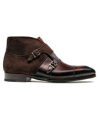 Flat Feet Shoes - Brown Leather Batasang Monk Strap Boots with Arch Support