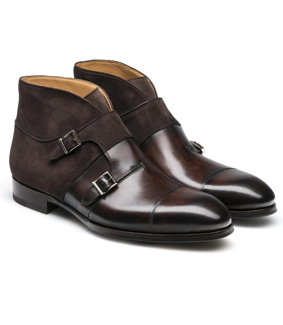 Brown Leather Batasang Monk Strap Boots