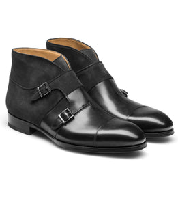 Black Suede & Leather Philadel Monk Strap Boots