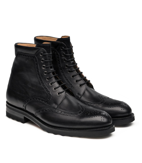 Black Leather Rennes Chunky Oxford Boots