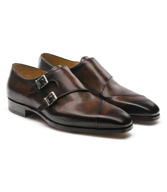 Brown Leather Nycoshy Monk Strap Shoes