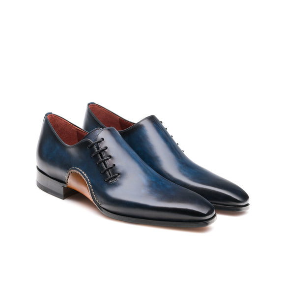 Height Increasing Navy Blue Leather Cobar Oxfords Shoes