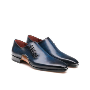 Flat Feet Shoes - Navy Blue Leather Cobar Oxfords Shoes with Arch Support