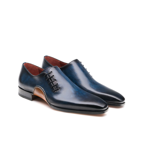 Navy Blue Leather Cobar Oxfords Shoes