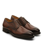 Height Increasing Brown Leather Nicolet Chunky Derby Shoes