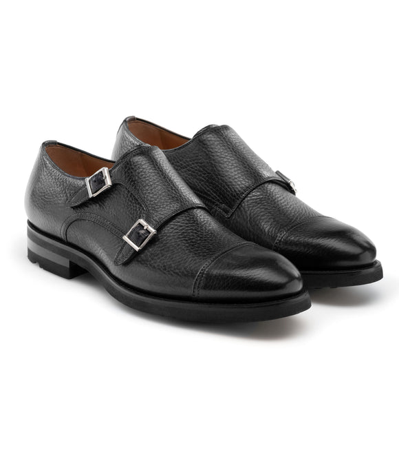 Black Leather Portneuf Chunky Monk Strap Shoes