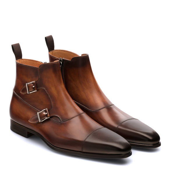 Height Increasing Brown Leather Bordeaux Monk Strap Boots