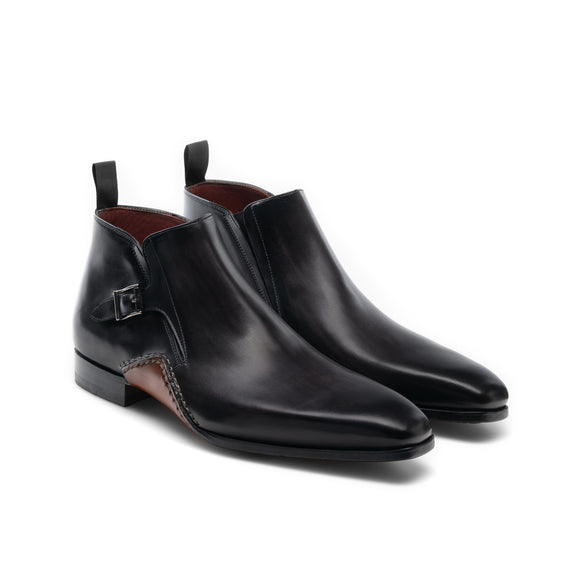 Black Leather Forbes Single Monk Boot