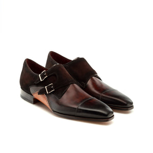 Height Increasing Brown Leather & Sude Bourke Monk Straps Shoes