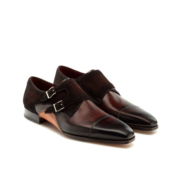 Brown Leather & Suede Bourke Monk Straps Shoes
