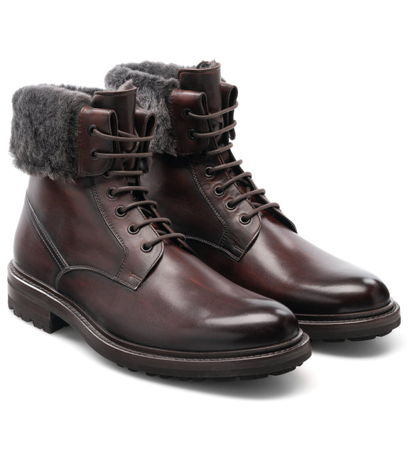 Height Increasing Brown Leather Avigon Chunky Derby Boots