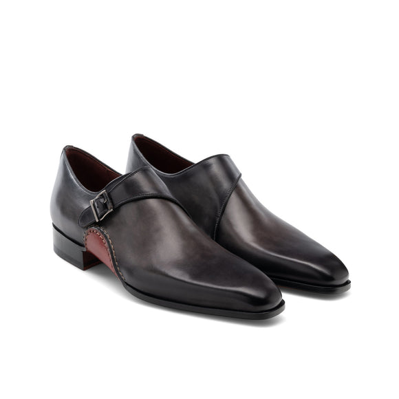 Height Increasing Black Leather Bathurst Monk Straps Shoes
